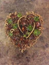 Vintage Signed CORO Heart Brooch with  Green & Amber Rhinestones Gold Tone