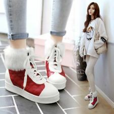 Women's Quilted Casual Shoes Fur Trim Stitching Color Lace Up High Top Boots