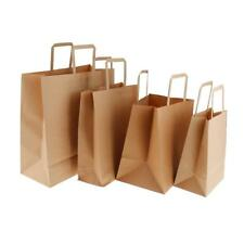 10 Brown Kraft Paper Candy Sweets Gift Bags Shopping Carrier Bag Flat Handle