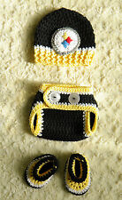 Handmade - Pittsburgh Steelers Football Baby Crochet hat, diaper cover, booties