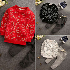 2pcs Toddler Kids Baby Boys Girls Cotton T-shirt Tops+pants autumn Clothes Set