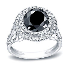 Auriya Platinum 2ct TDW Round Cut Black Diamond Double Halo Engagement Ring (H-I
