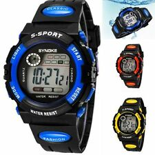 Waterproof Kids Child's Boy girl PU Band Led Digital Sport Quartz Wrist Watch