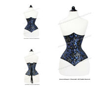 18 Double Steel Boned Waist Train Brocade Underbust Shaper Corset #H8334BL-BRO