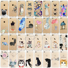 Animal Cute Cat Pattern Soft TPU Silicone Back Case Cover For iPhone 7 6 6s Plus