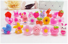 Wholesale Resin Ring Lots Lovely Mix Cartoon Children Kids Baby Jewelry 100pcs
