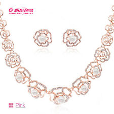 2 Color H-Quality Austrian Crystal Zircon Flower Necklace Earring Set 03263
