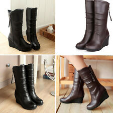 Fashion Women's Black Brown PU Leather Wedge Mid Calf Boots Shoes US Size 11 C