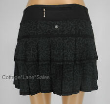 NEW LULULEMON Pace Setter Skirt 2 TALL Petal Camo Black Deep Coal Run FREE SHIP