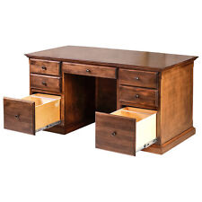Forest Designs Traditional Alder Executive Double Pedestal Desk with Mission Kno