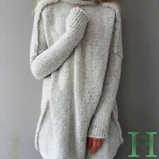 Womens Long Sleeve Oversized Jumper Chunky Knitted Long Sweater Top Ladies Dress