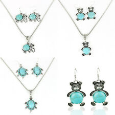 Vintage Blue Turquoise Pendant Chain Necklace Earrings fashion Jewelry Set hot