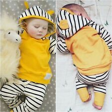 2PCS Kids Baby Toddler Boy stripe Clothes Set hooded Tops+Pants Casual Outfits