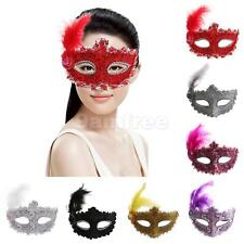 Fancy Dress Lady Feather Lace Eye Masks Masquerade Halloween Party Costume