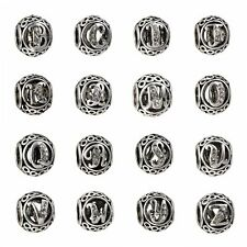 26 Letters Round Silver CZ Charms Loose Beads Fit Bracelet Bangle Chain Jewelry