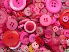 Mixed Pink Buttons colours 50g 100g or 250g mixed pinks button sizes colours new