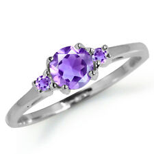 Petite Natural Amethyst White Gold Plated 925 Sterling Silver Ring