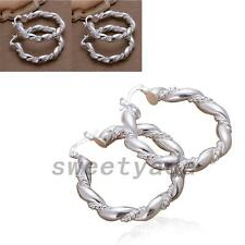 Twist Rope Braided Chunky Hoop Earrings Silver Plated Fashion Jewelry Accessory