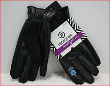 Isotoner Mens Faux Leather DRESS GLOVES - Thermaflex Lined - Smart Touch - BLACK