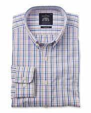 Savile Row Men's Blue Pink Brown  Check Casual Classic Fit Single Cuff Shirt