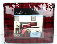 Cuddl Duds Buffalo Heavy Weight Brushed Cotton FLANNEL Sheet Set - RED PLAID