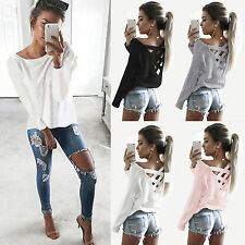 Ladies Loose Long Sleeve Shirt Criss Cross Back Pullover Jumper Tops Blouses Tee