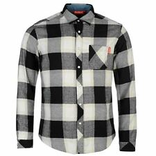 Kickers Mens Flannel Shirt Smart Cotton Button Front Long Sleeve Collar Neck Top