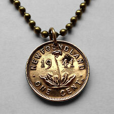 Canada Newfoundland 1 cent coin pendant Canadian carnivorous plant WWII n000824
