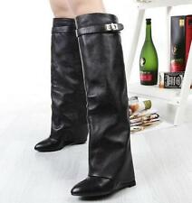 Womens Knee High Boots Pointy Toe Winter Boots Wedges High Heels Leather Shoes@1