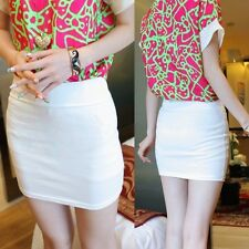 Trendy Hip-wrapped Stretch Office Lady Pencil Skirt Mini Dress Solid Casual 6695