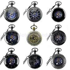 Men Punk Hollow Case Mechanical Necklace Pocket Watch Hand-Woud