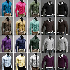 Mens Formal Casual Suits Slim Fit Dress Shirts Top Long Sleeves Knitwear Sweater