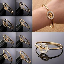 18K Gold Filled Stainless Steel Crystal Cuff Bracelet Bangle Women Lady Jewelry