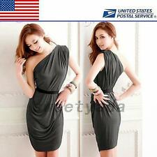 Asymmetric One Shoulder Women's Night Out Club Cocktail Party Mini Dress Solid