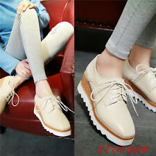 Hot Punk Womens Wedge Mid Heels 6CM Platform Lace up Brogue Oxford Shoes Size