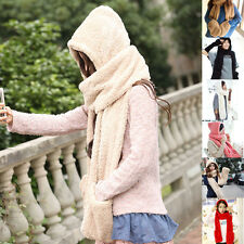New Gloves With Pocket Winter Warm Women Ladies Fluffy Hood Scarf Earflap Hat