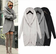 Women Ladies Woolen Warm Top Casual Long Jacket Hooded Coat Wrap Overcoat Jacket