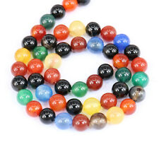 1Bunch Glossy Colourful Agate Round Loose Bead Charm Pendant Necklace Jewelry