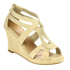 Top Moda CC29 Women's Strappy Caged Back Zip Platform Wedge Sandals New In Box