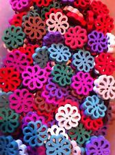 Wooden Small Coloured FLOWER FLOWERS Buttons Scrapbooks Craft Sewing UK