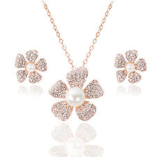 Fashion Women Pearl Crystal Plum Blossom Necklace Earring Ear Stud Jewelry Gift