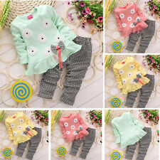 2PCS Cute Newborn Kids Baby Girl T-shirt Tops+Long Pants Tracksuit Outfits Set