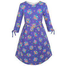Girls Dress Purple Flower 3/4 Sleeve Princess Party Dress Age 4-12 Years