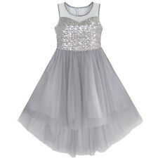 Flower Girl Dress Gray Sequined Tulle Hi-lo Wedding Party Dress Age 7-14 Years
