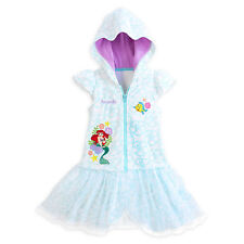 The Little Mermaid Ariel Swimsuit White Cover-Up Hooded Robe 3-9/10 Disney Store