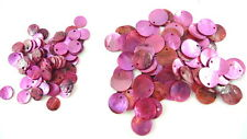 24 HOT PINK FUCHSIA Dyed Flat Round Shell Charms Pendants Coin Drops 10mm/15mm