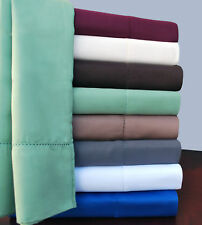 Wrinkle-Resistant Hem-Stitched Cotton Blend Sheet Set