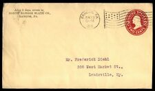 Bangor Pa Jun 23 1910 Us 2C Red Stationery Issue & Flag Cancel On Cover To Ky