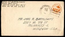 1940s APO 467 airmail postal stationery cover to Milwaukee Wisconsin