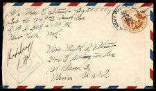 1944 APO 308 censored postal stationery cover to St. Paul Minnesota